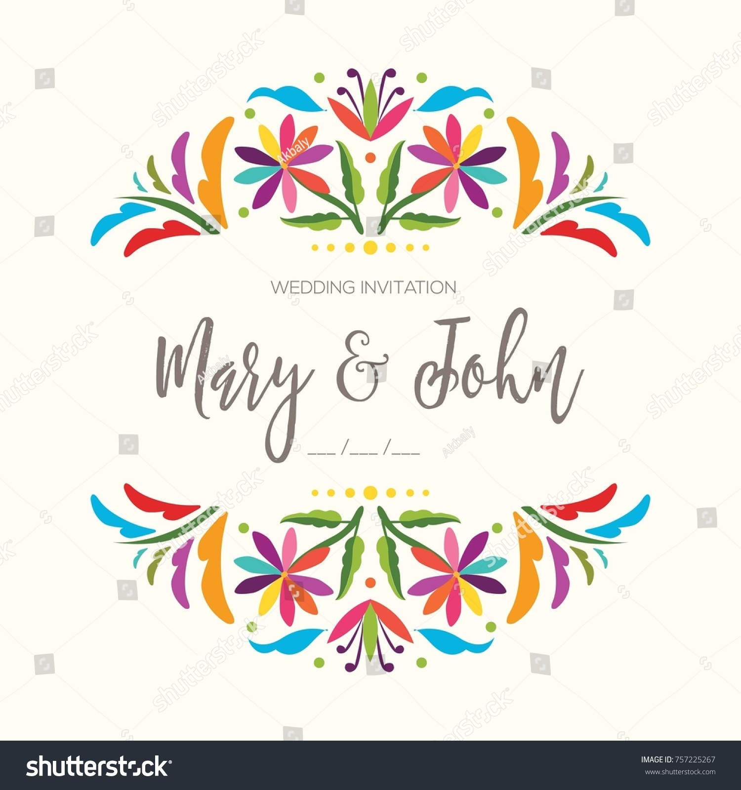 Colorful mexican traditional textile embroidery style stock vector colorful mexican traditional textile embroidery style from tenango hidalgo mxico wedding invitation stopboris Images