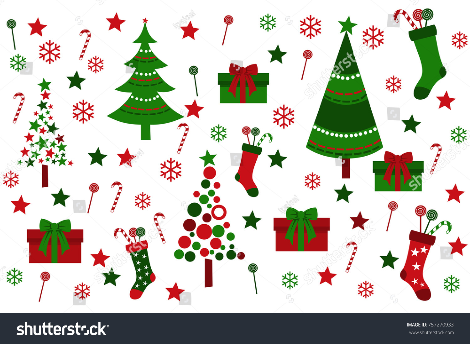 Colored Background Christmas Tree Christmas Boot Stock Vector ...
