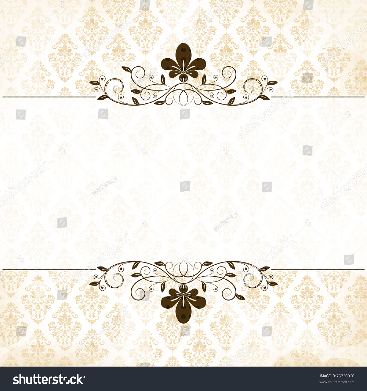 Vector calligraphy vintage floral background with