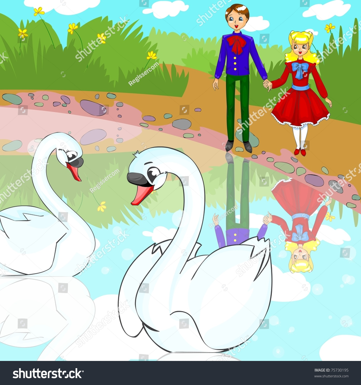 illustration fairytale ugly duckling people look stock