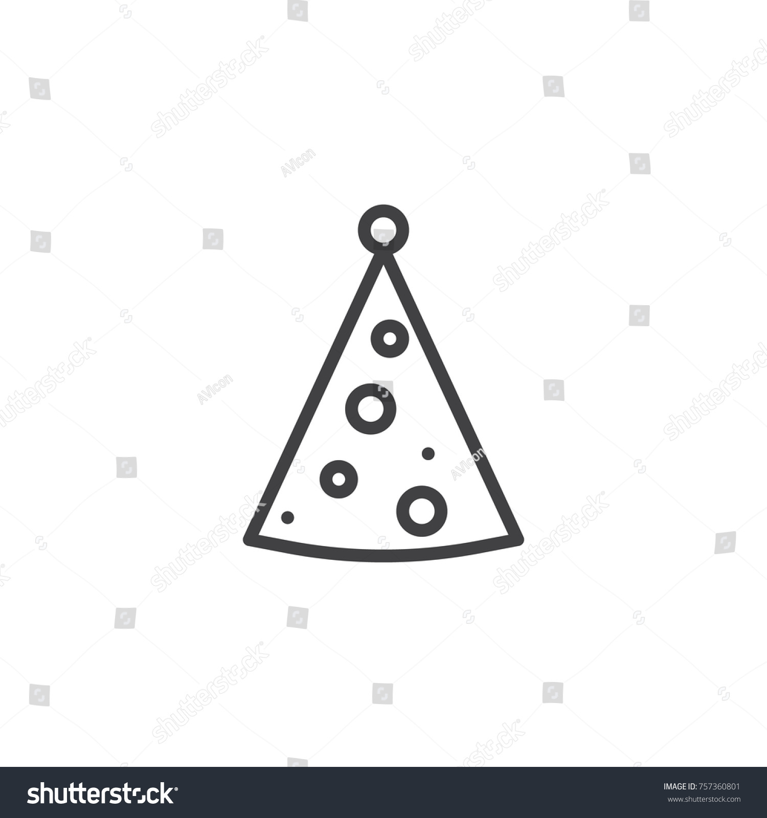 Party Hat Line Icon Outline Vector Stock Vector 757360801 Shutterstock
