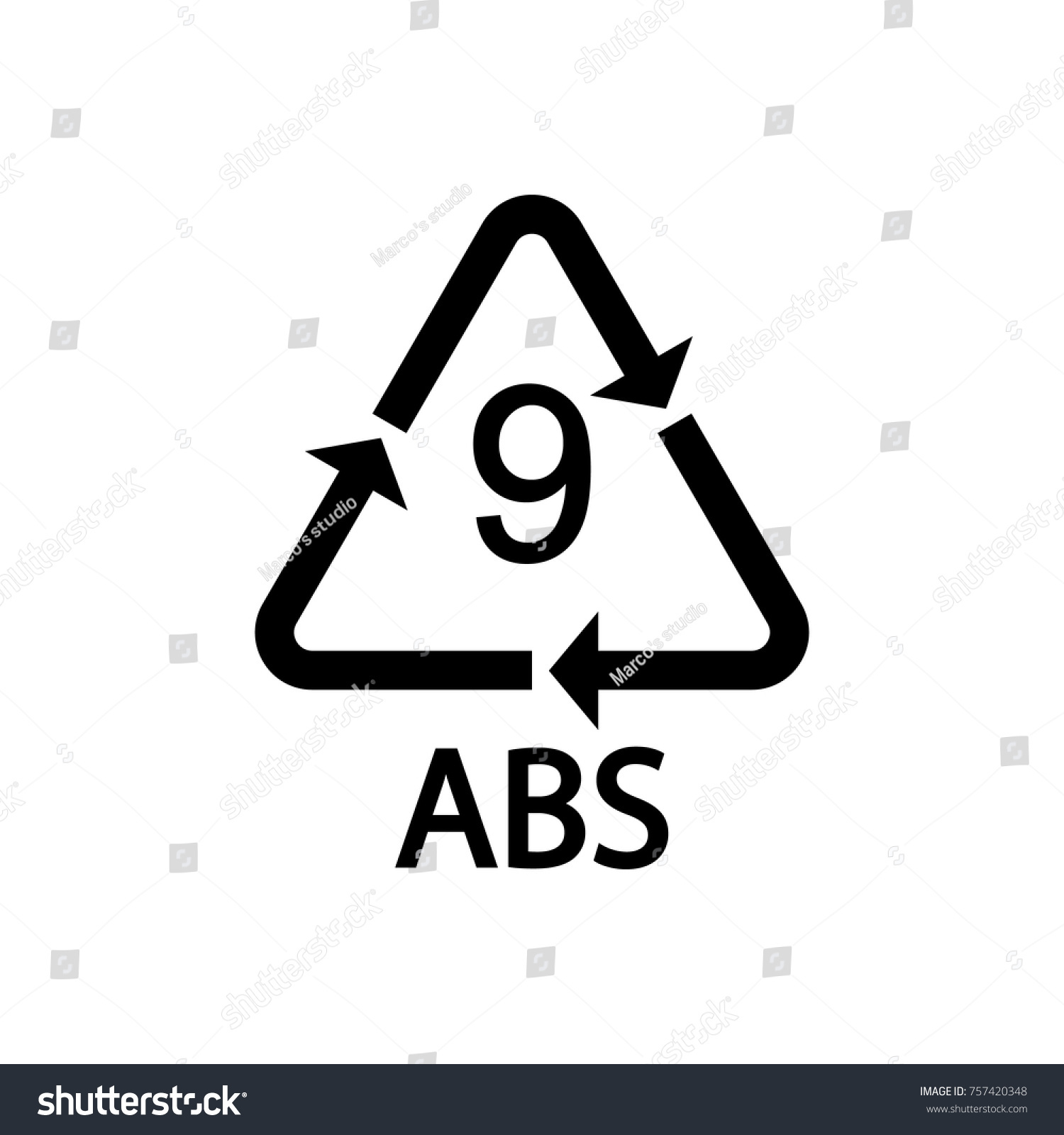 Plastic Recycling Symbol Abs 9 Vector Stock Vector Royalty Free