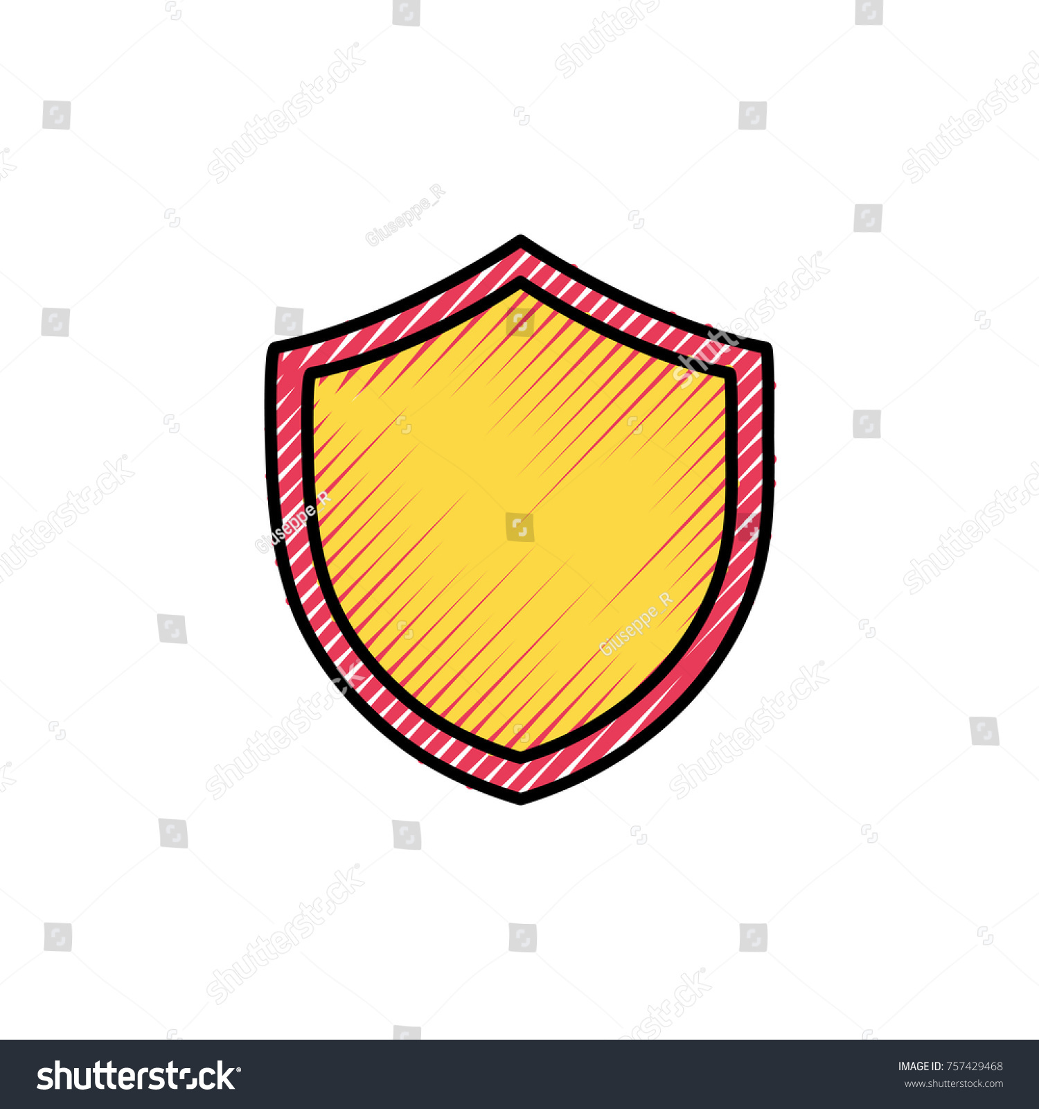 Grated Shield Security Protection Web Symbol Stock Vector Royalty