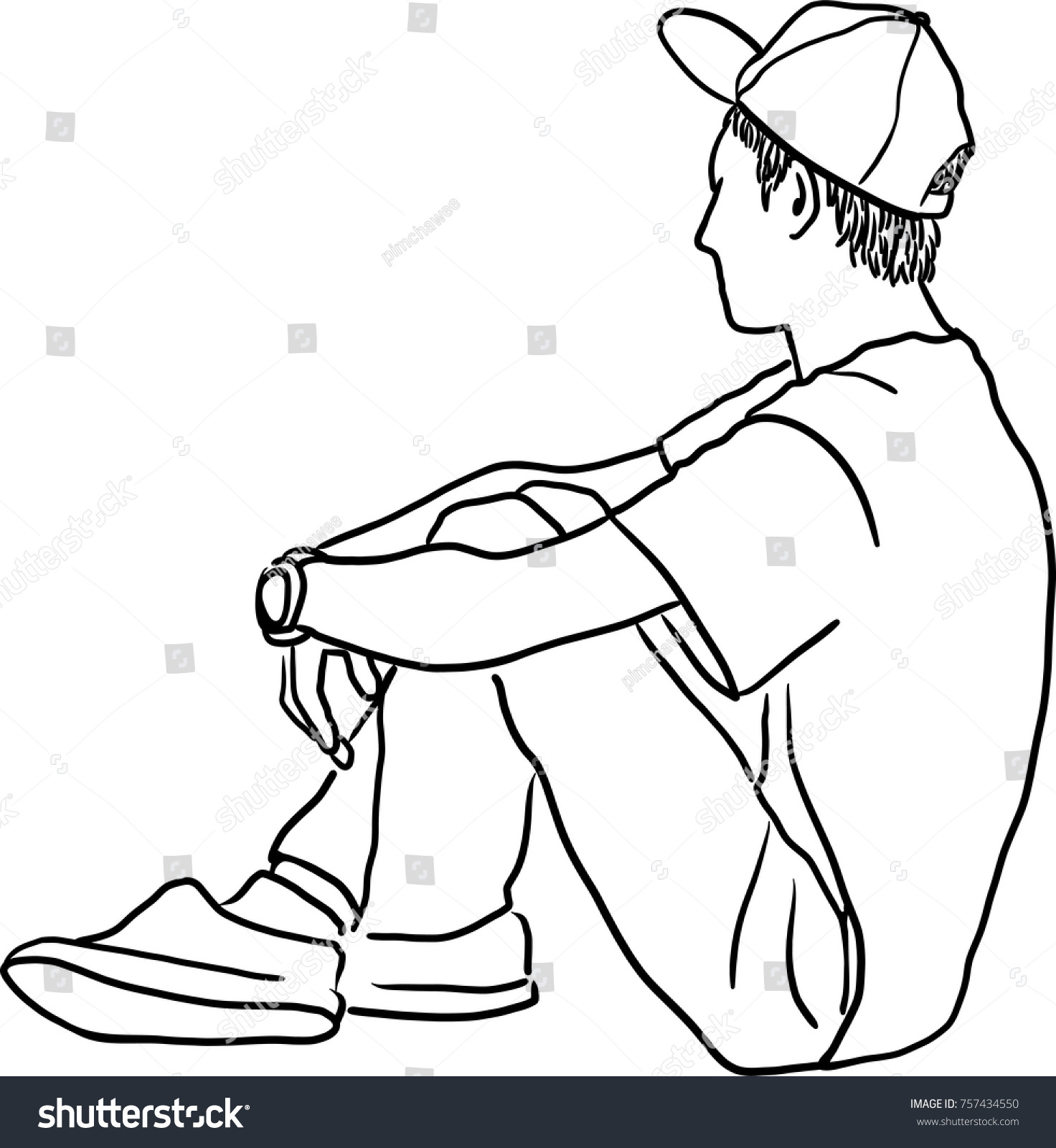 Vector art drawing of very sad man sitting alone on white background depressed young man