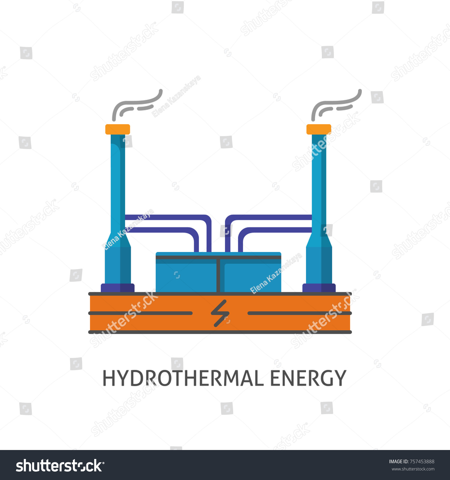 Geothermal Power Plant Icon Isolated Stock Illustration