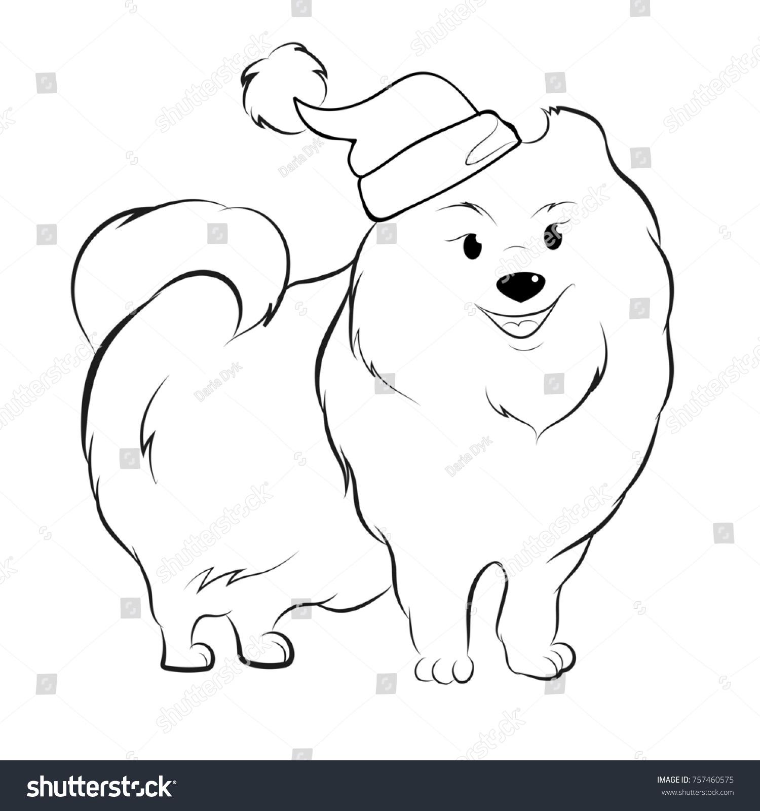Dog Santa Coloring Page Stock Illustration 757460575 - Shutterstock