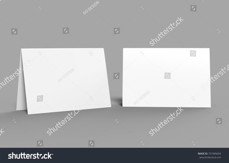 Halffold Horizontal Brochure Blank White Template Stock Illustration - Brochure blank template