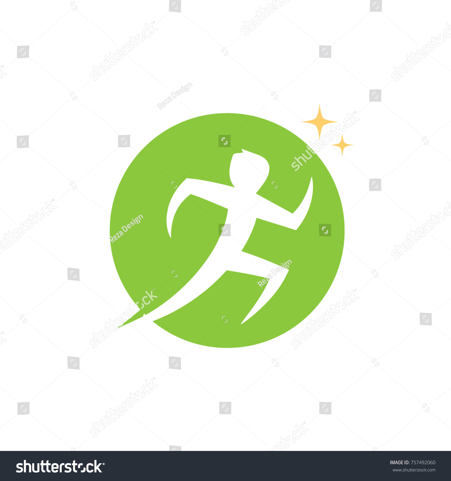 People Human Character Running Unique Logo Stock Vector Royalty