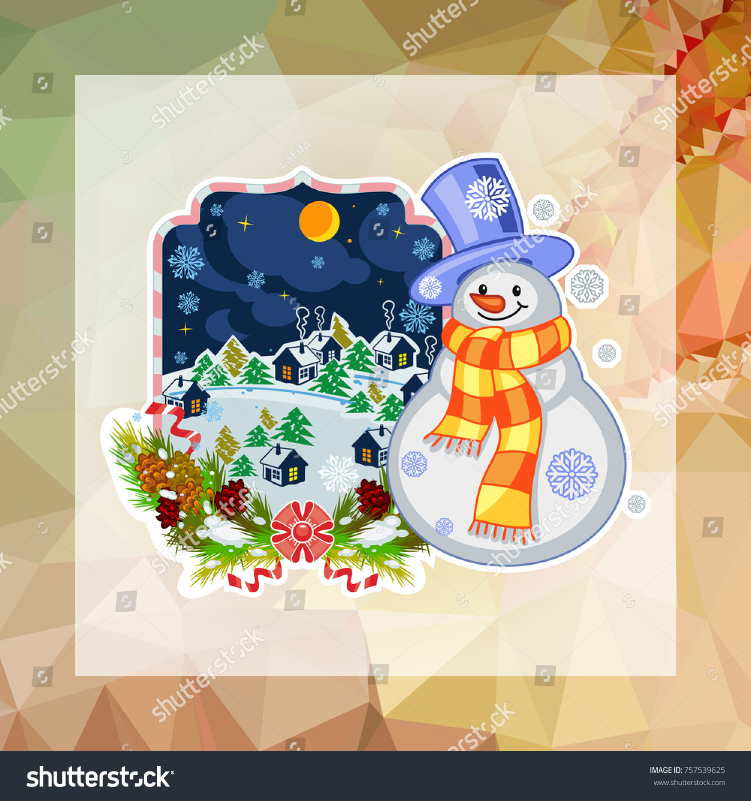Holiday Square Christmas Card Funny Snowman Stock Vector Royalty