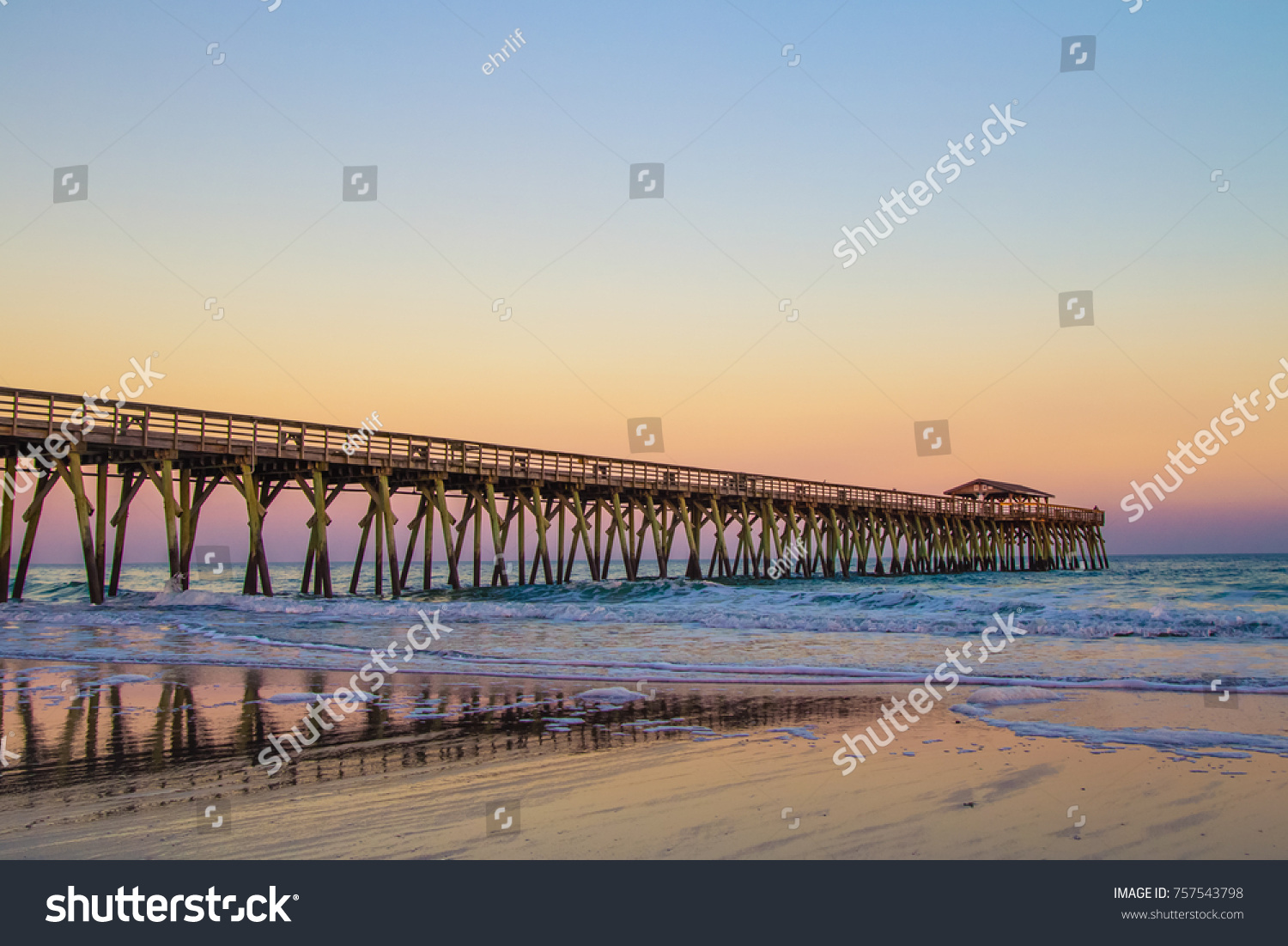 Myrtle Beach Ocean Pier Background Sunset Colors On The Coast Of South