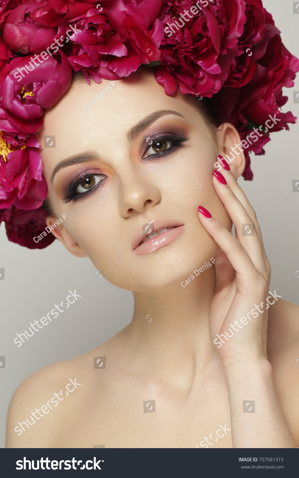 Beauty Makeup In The Studio On A Light Grey Background Hair Style