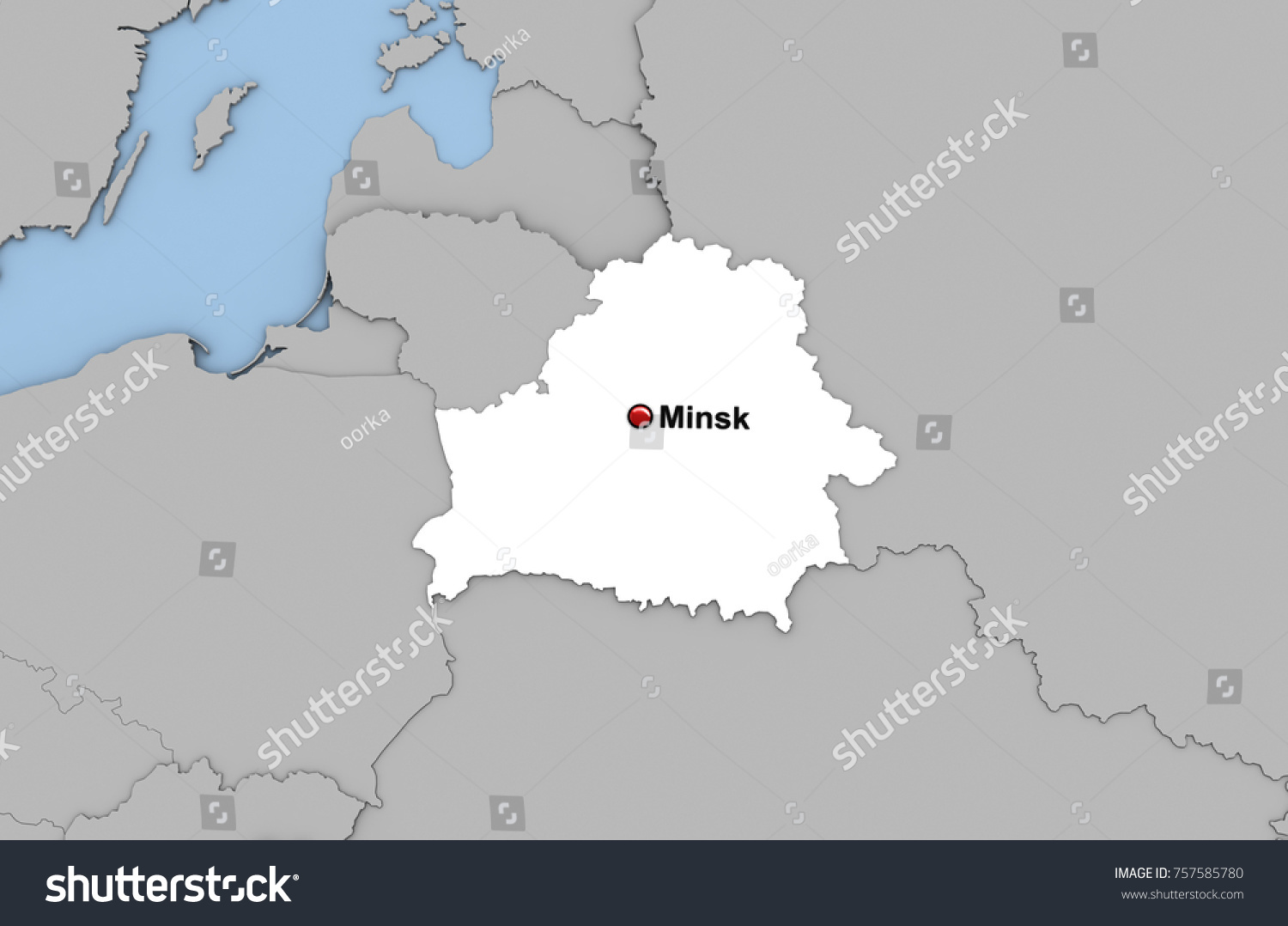 Abstract 3d Render Map Belarus Highlighted Stock Illustration