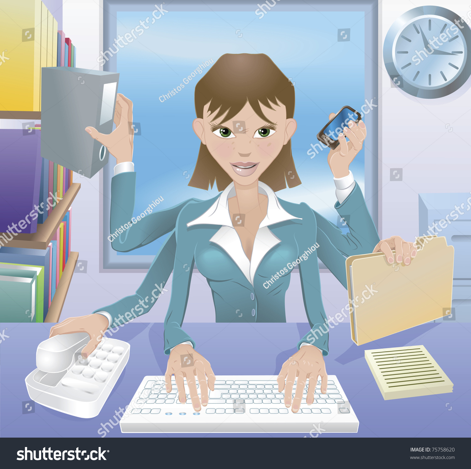 A Busy Successful Business Woman Multitasking In The ...