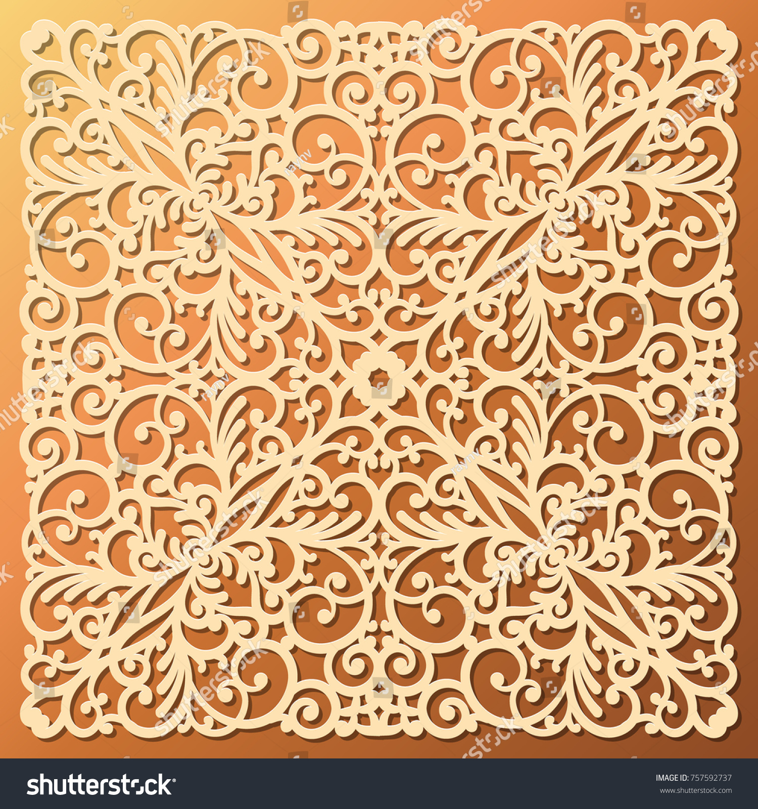 Laser Die Cut Ornamental Square Pattern Stock Vector 757592737 ...