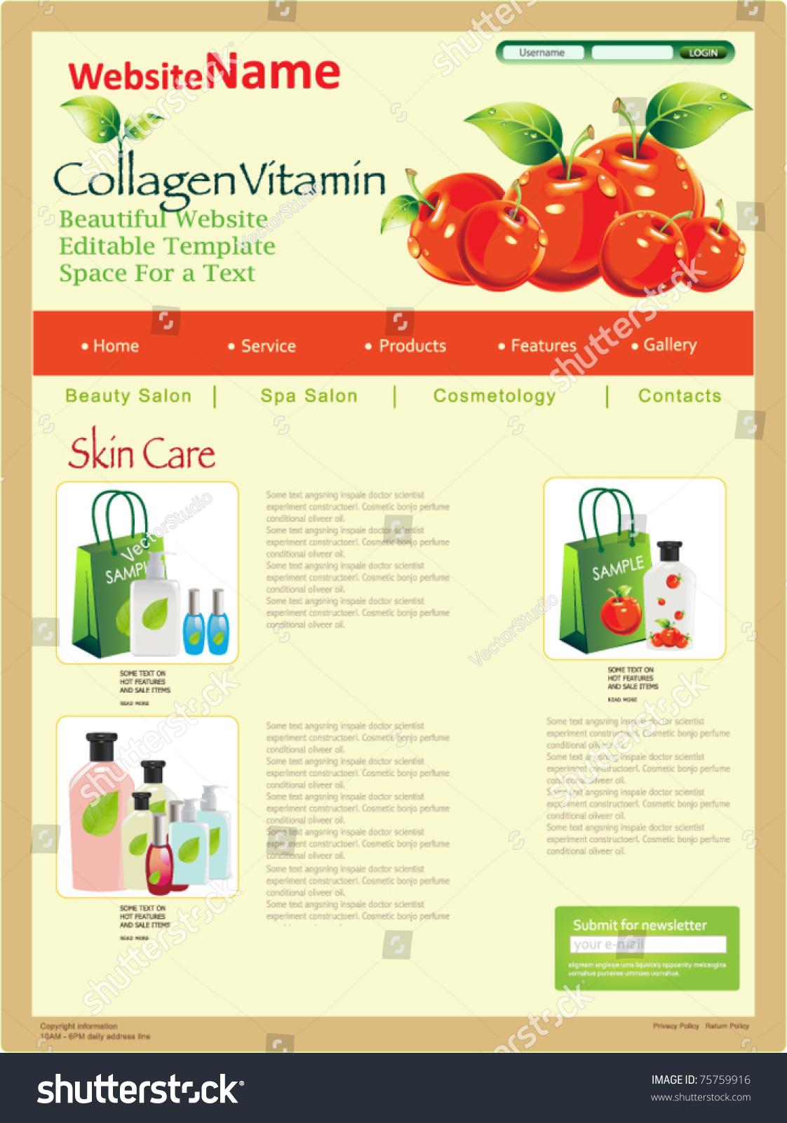 website design template fresh cherry vector stock vector 75759916 shutterstock