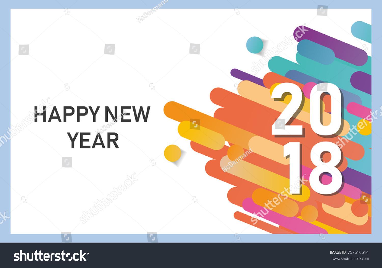 Happy New Year 2018 Vector Background Stock Vector 757610614 ...