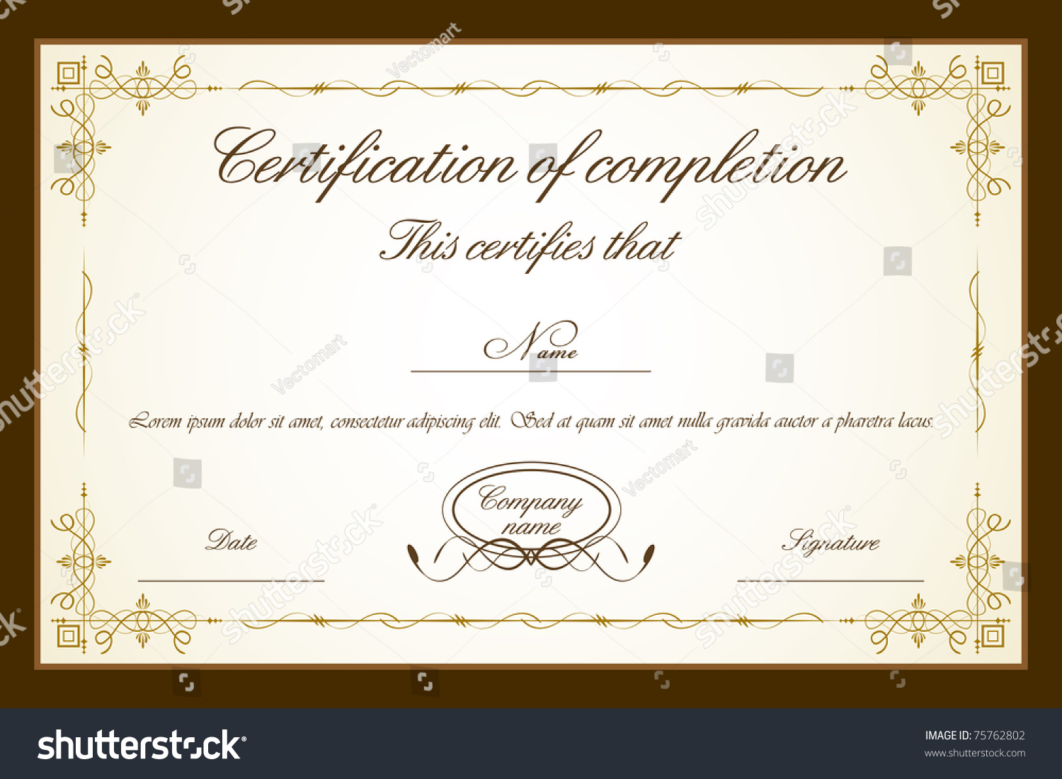 Illustration Certificate Template Floral Frame Stock Vector Royalty