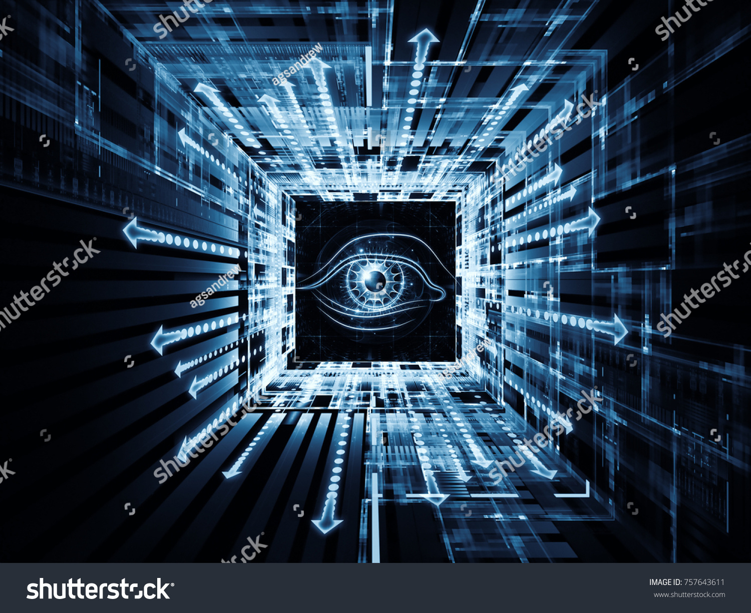 Watching you series 3d illustration symbol stock illustration 3d illustration of symbol of an eye motion trails and fractal biocorpaavc Images
