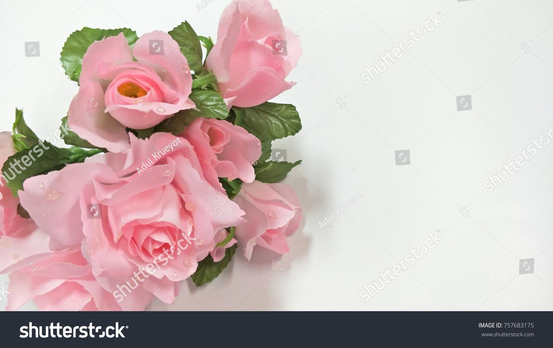 Pink roses bouquet on white silk textile ez canvas mightylinksfo