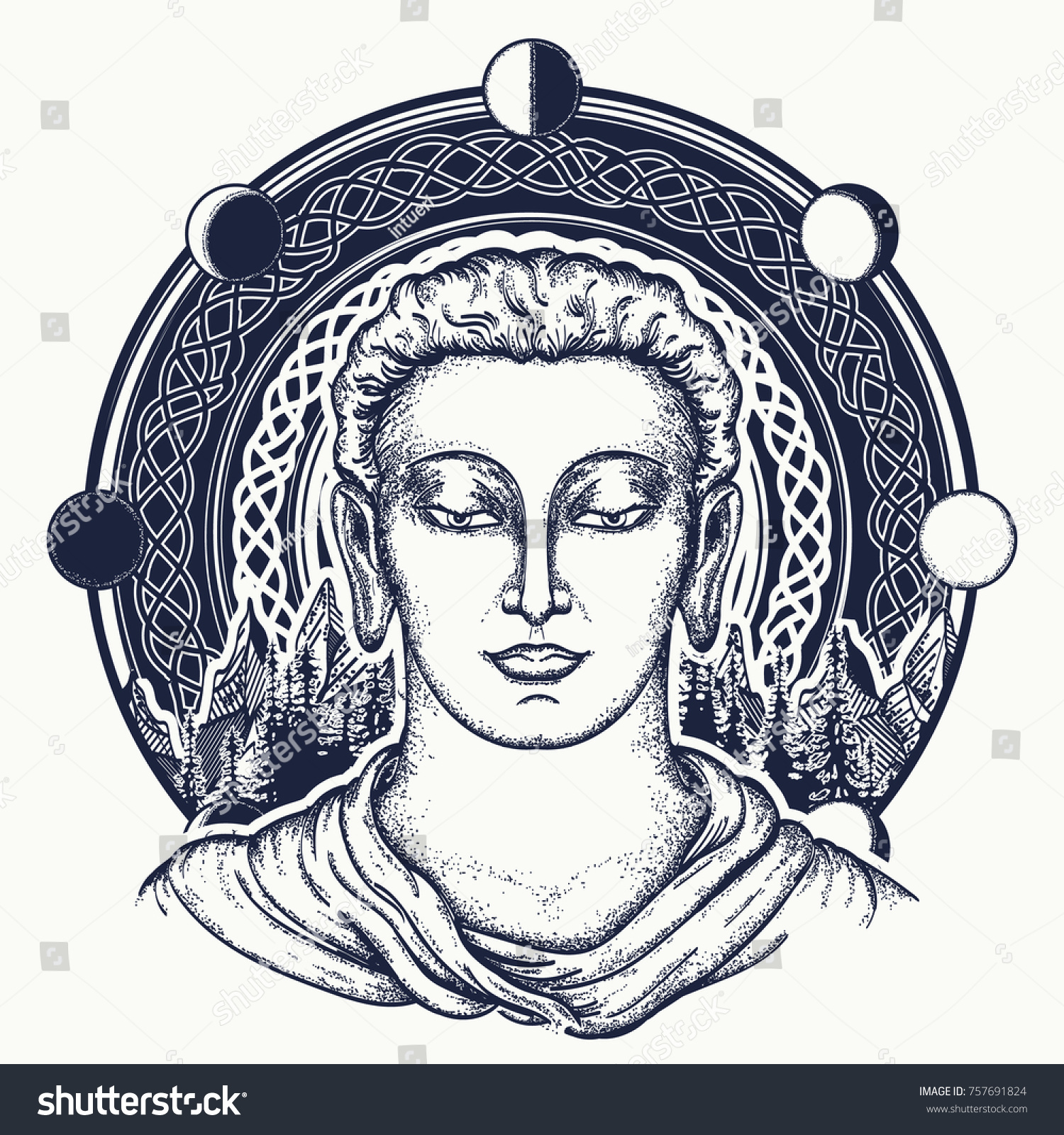 Buddha face tattoo art sacred celtic stock vector 757691824 sacred celtic sign rebirth of the soul symbol of immortality biocorpaavc Gallery