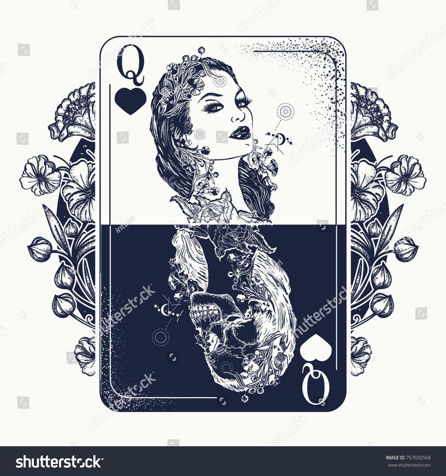 Queen Playing Card Art Nouveau Flowers 757692568