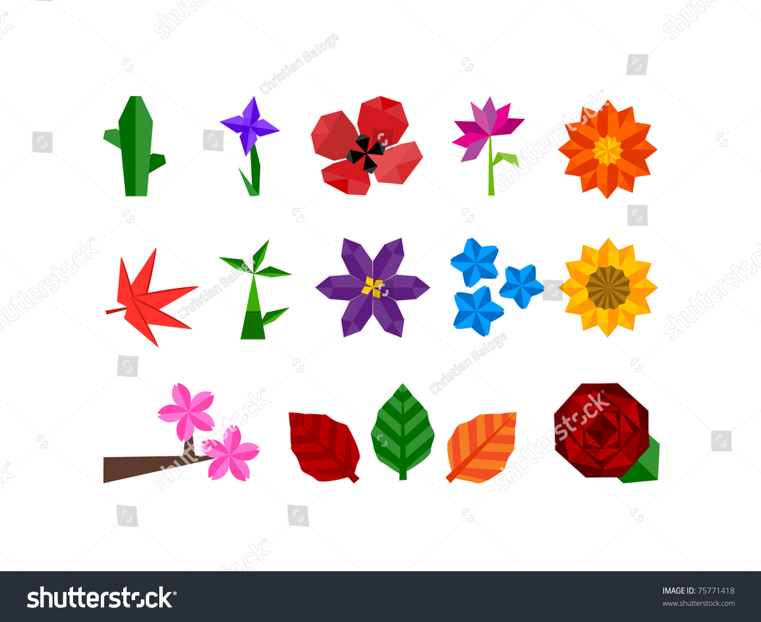Abstract Flower Icons Stock Vector: Abstract Icon Set Of Plants And Flower Icons For All