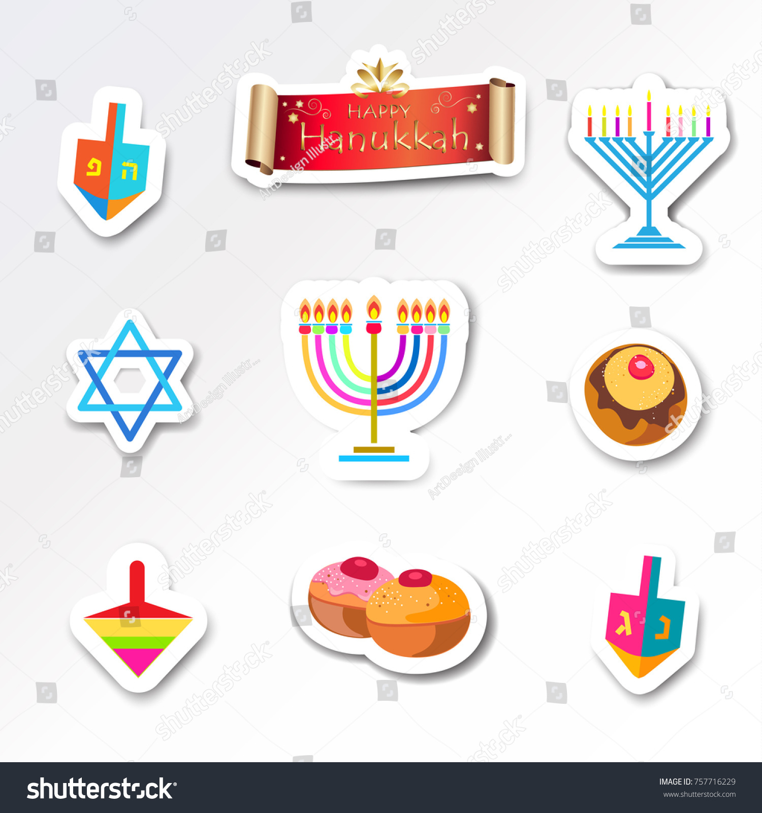 Hanukkah holiday greeting poster traditional symbols stock vector hanukkah holiday greeting poster traditional symbols donuts cakes dreidel spinning top menorah candles with biocorpaavc