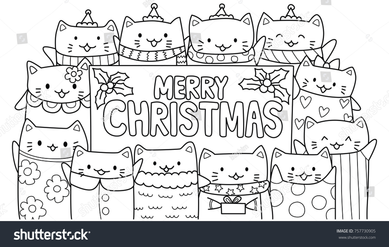 - Cute Cats Merry Christmas Texts Cardsinvitation Stock Vector