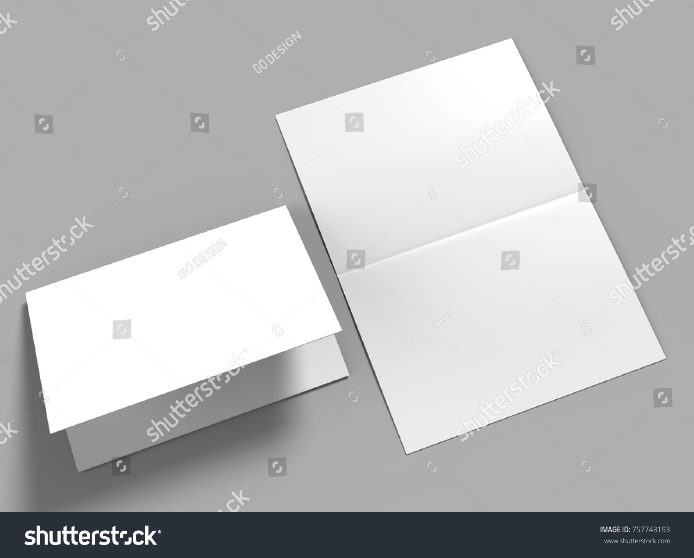 Halffold Horizontal Brochure Blank White Template Stockillustration ...