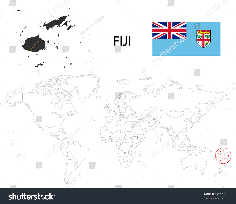 fiji map on world map flag stock vector 757782841 shutterstock