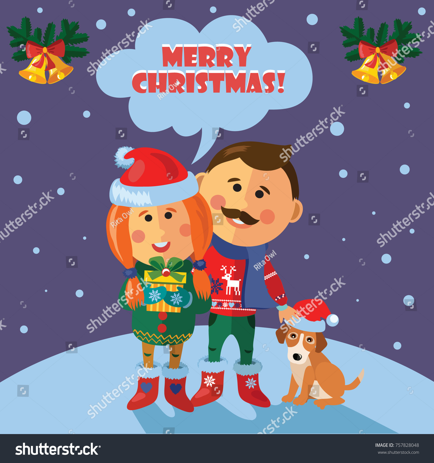 Christmas Card Married Couple Family Dog Stock Vector (Royalty Free ...