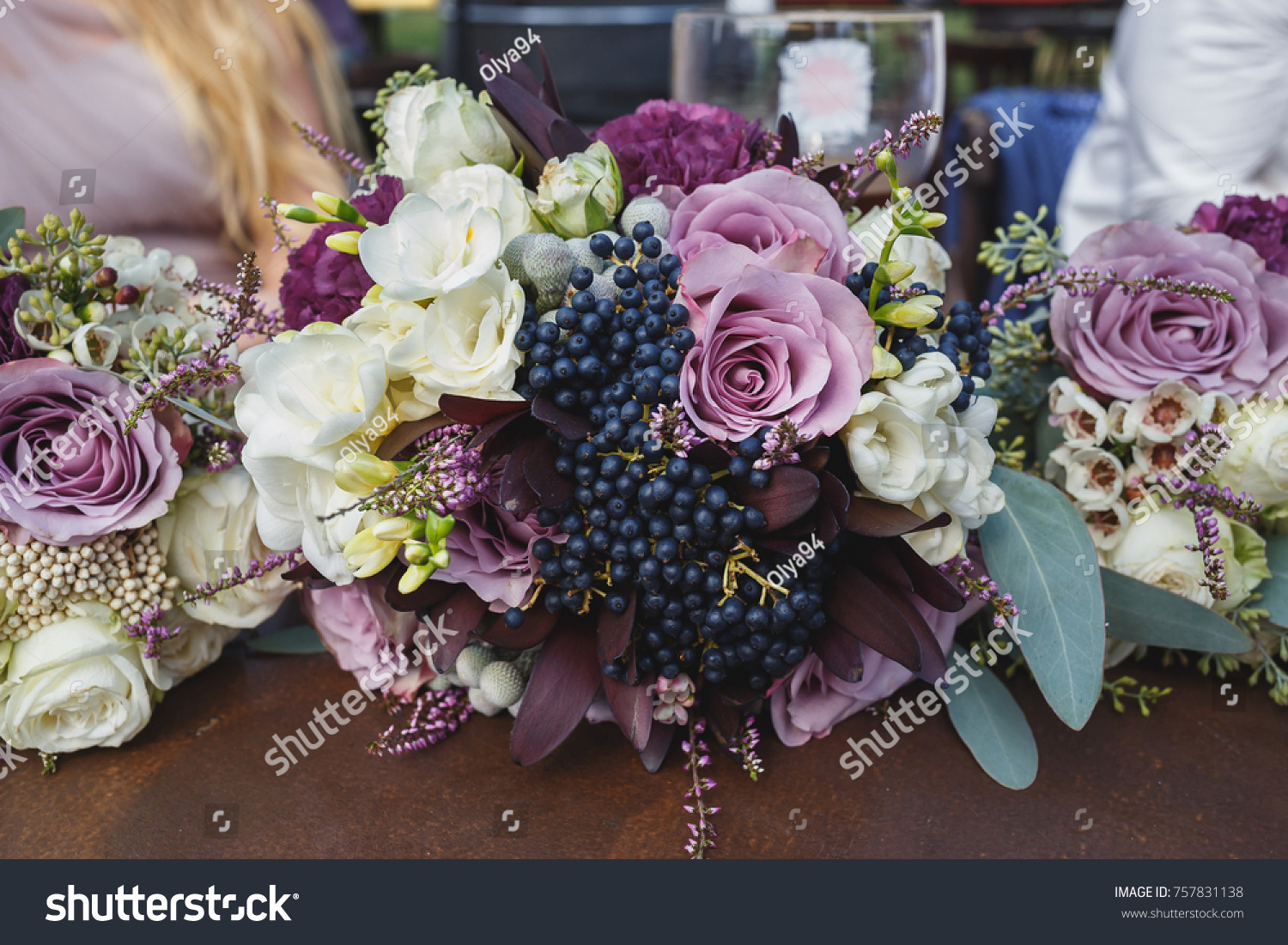 Purple White Wedding Bouquets Laying On Stock Photo Edit Now