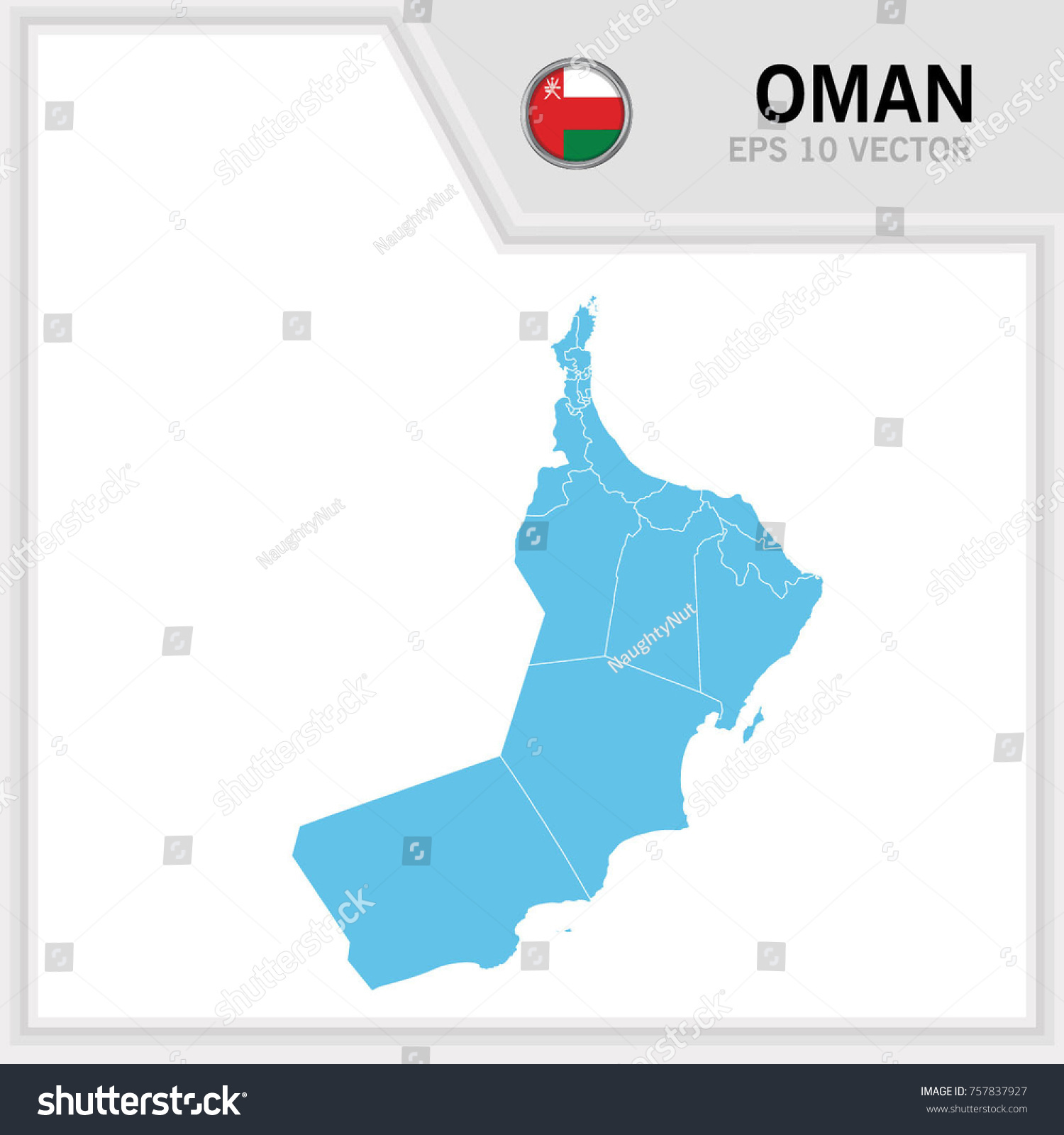Oman Map Flag White Background Stock Vector (Royalty Free) 757837927