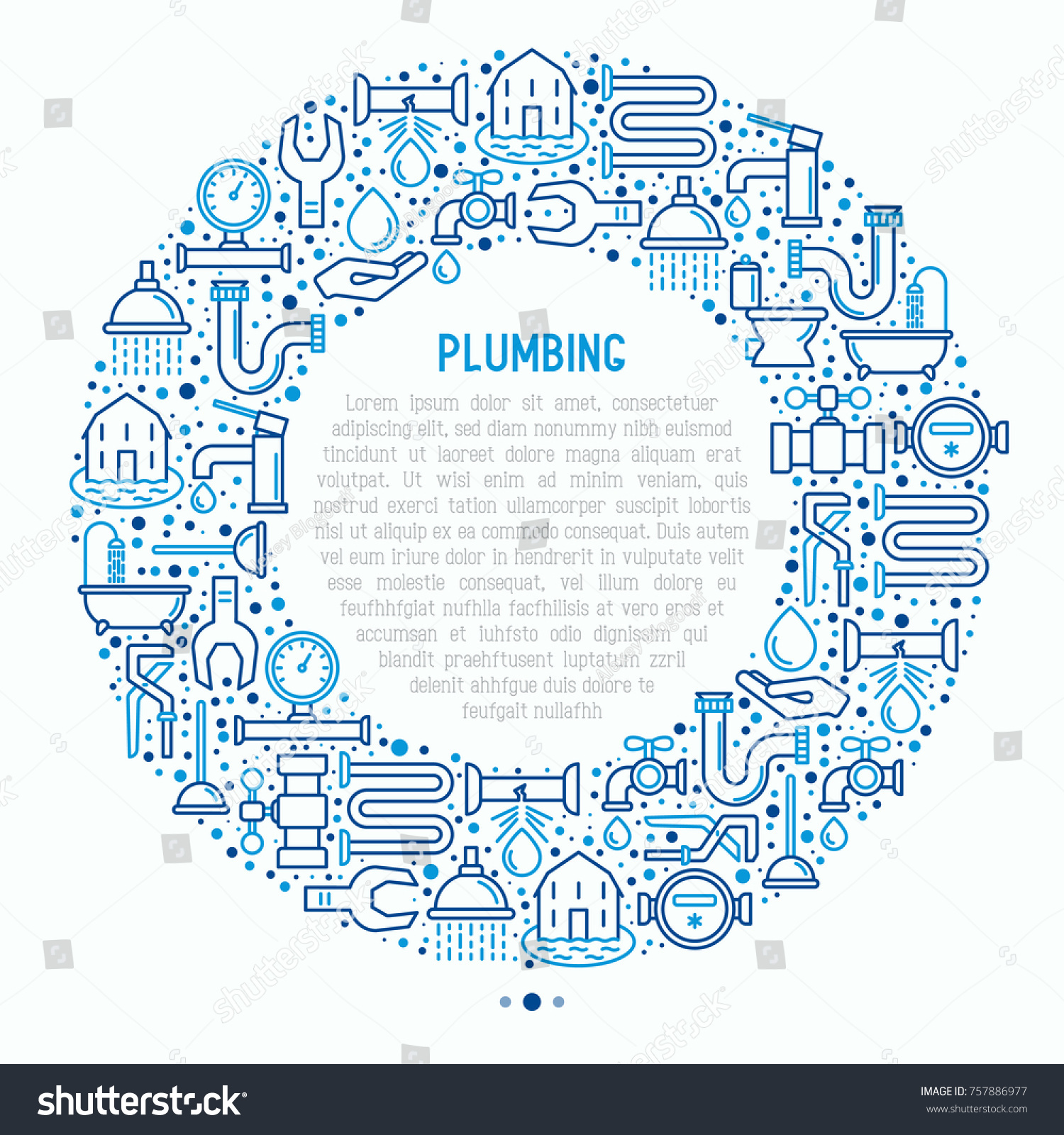 plumbing concept circle thin line icons stock vector 757886977