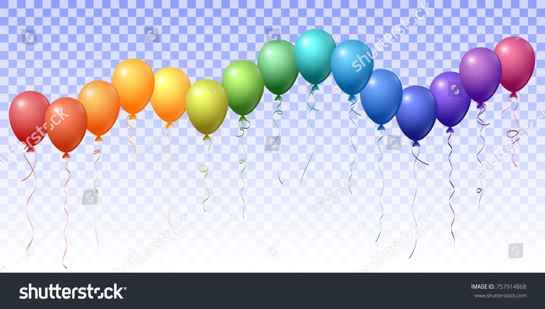 Rainbow Spectrum Flying Balloons Isolated Vector Stock Vector 2018