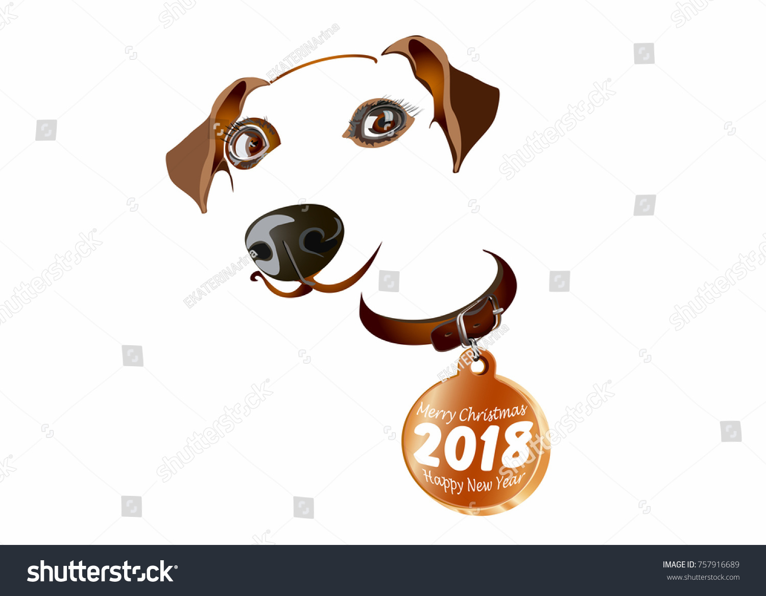 year of the dog 2018 happy new year postcard poster sticker