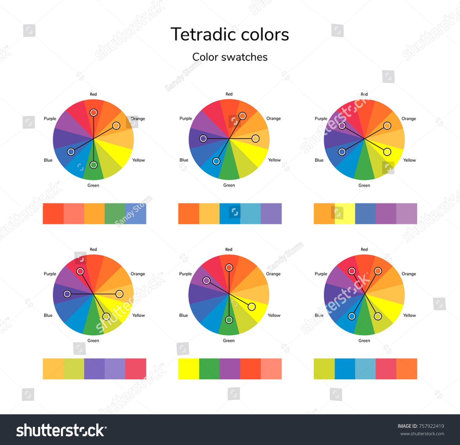 Illustration Of Color Circle Infographics Palette Tetradic Swatches