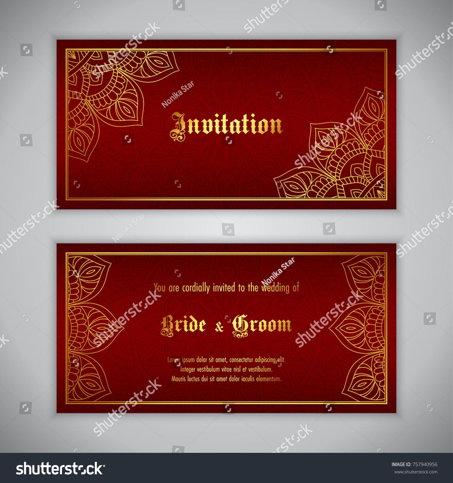 Luxury Wedding Invitation Golden Ornament Vector Stock Vector ...