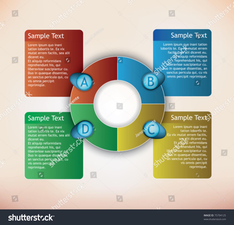 Four Parts Presentation Diagram Place Description Stock Vector 75794125