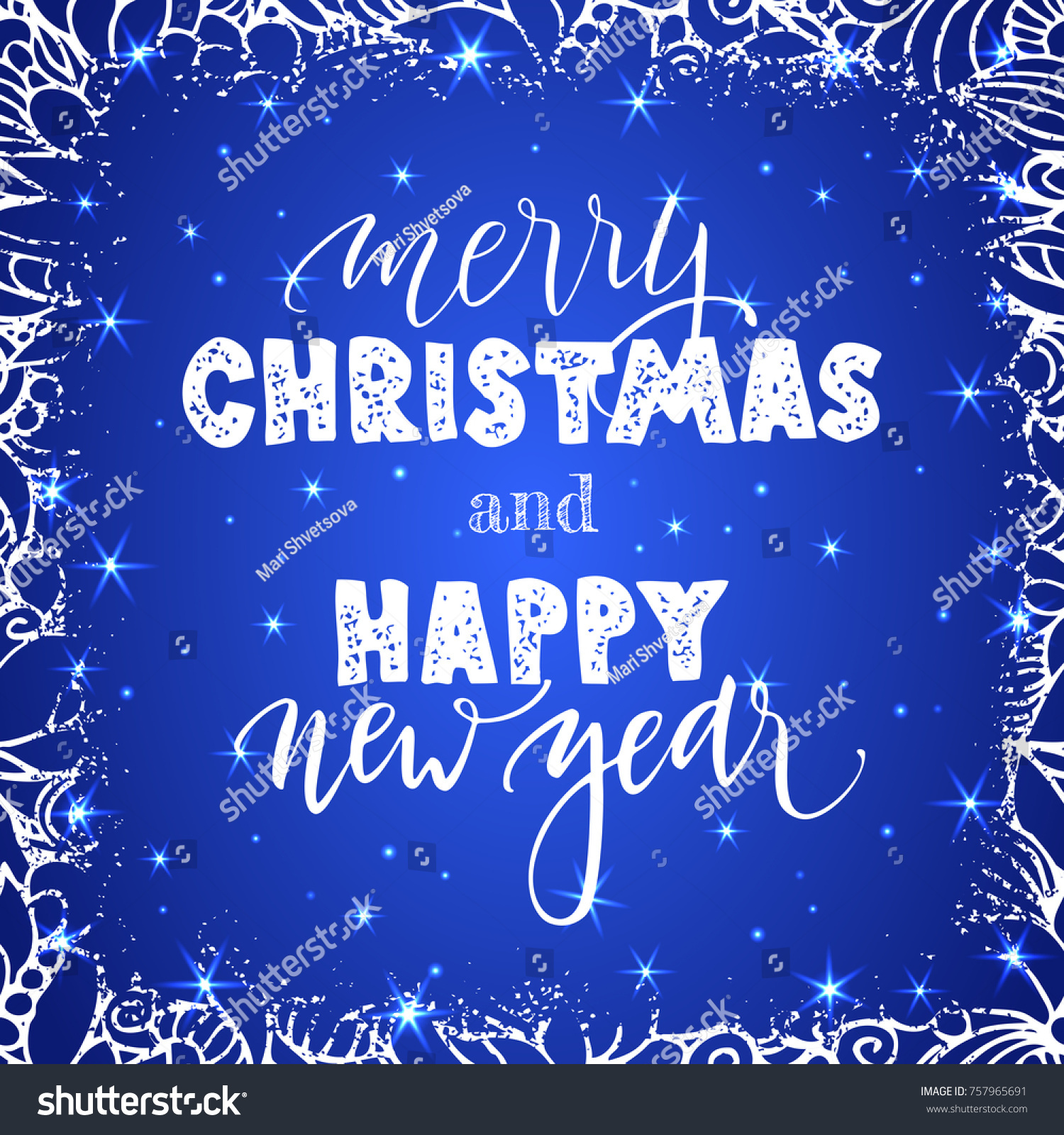 happy new year and merry christmas lettering on blue background with sparkles greeting card design