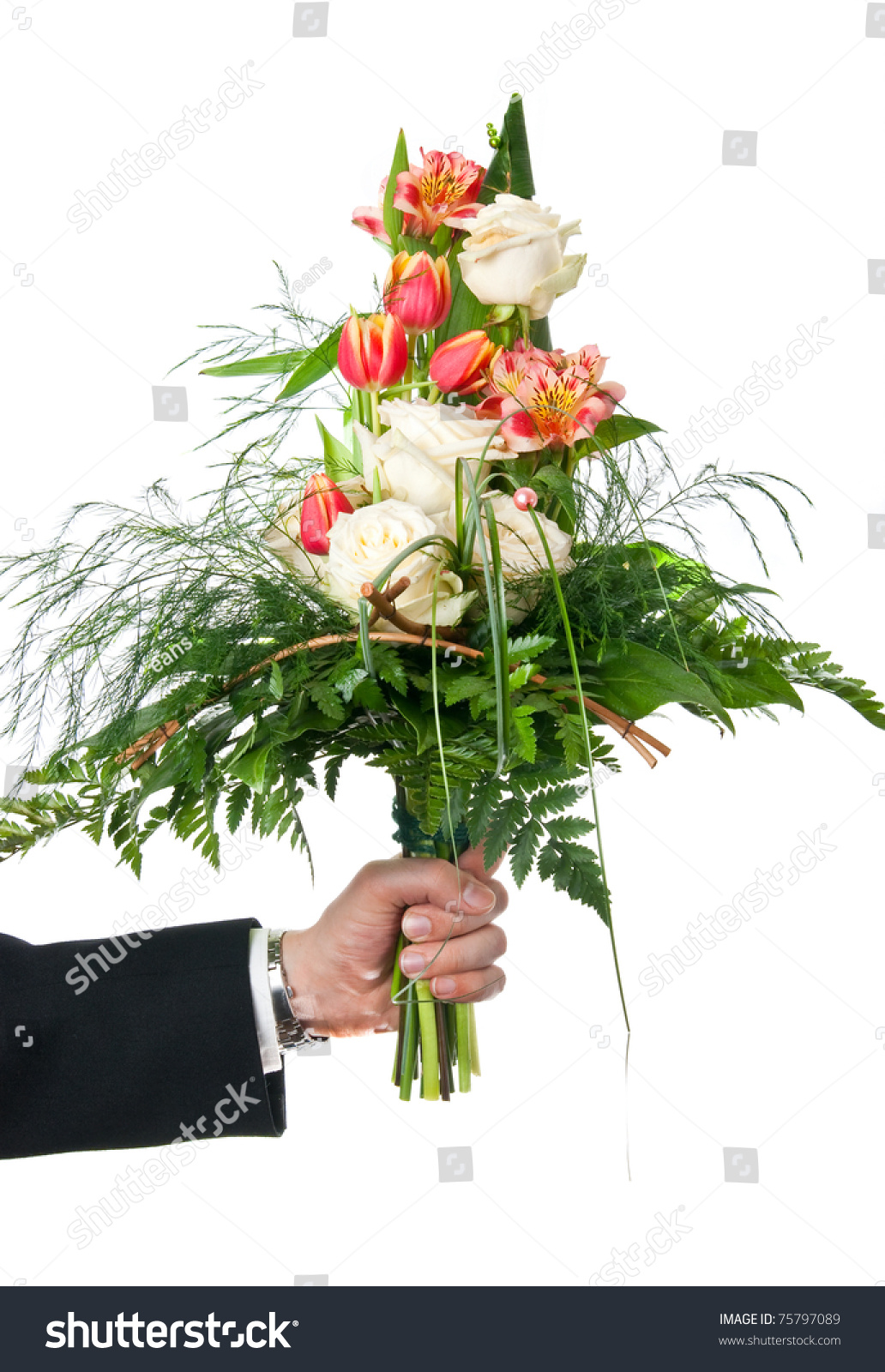 Fresh flowers bouquet mans hand over stock photo royalty free fresh flowers bouquet mans hand over stock photo royalty free 75797089 shutterstock izmirmasajfo