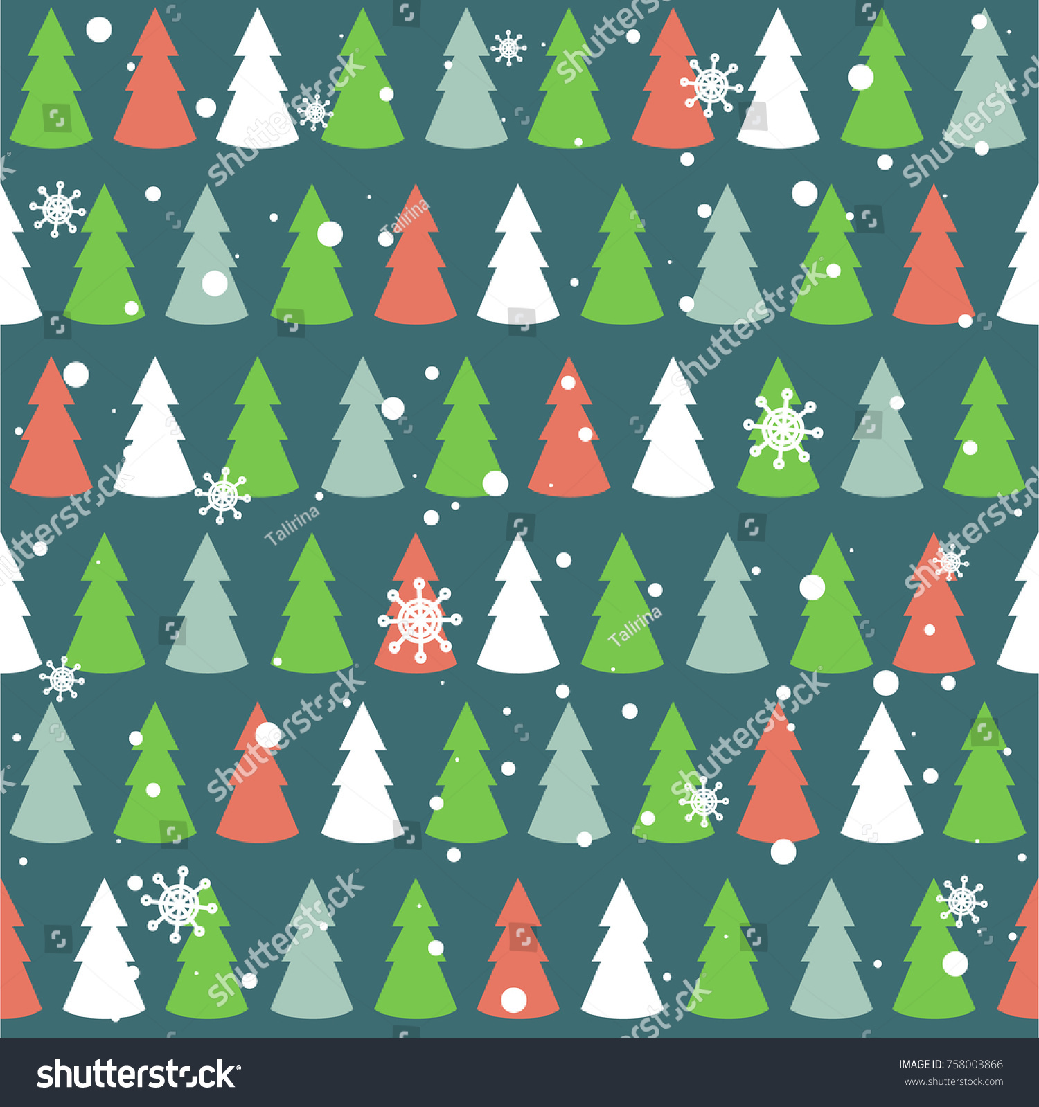 Seamless Pattern Multicolored Christmas Trees Snow Stock Vector ...