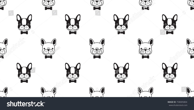 Dog French Bulldog Bow Tie Puppy Cartoon Vector Seamless Pattern Wallpaper Background
