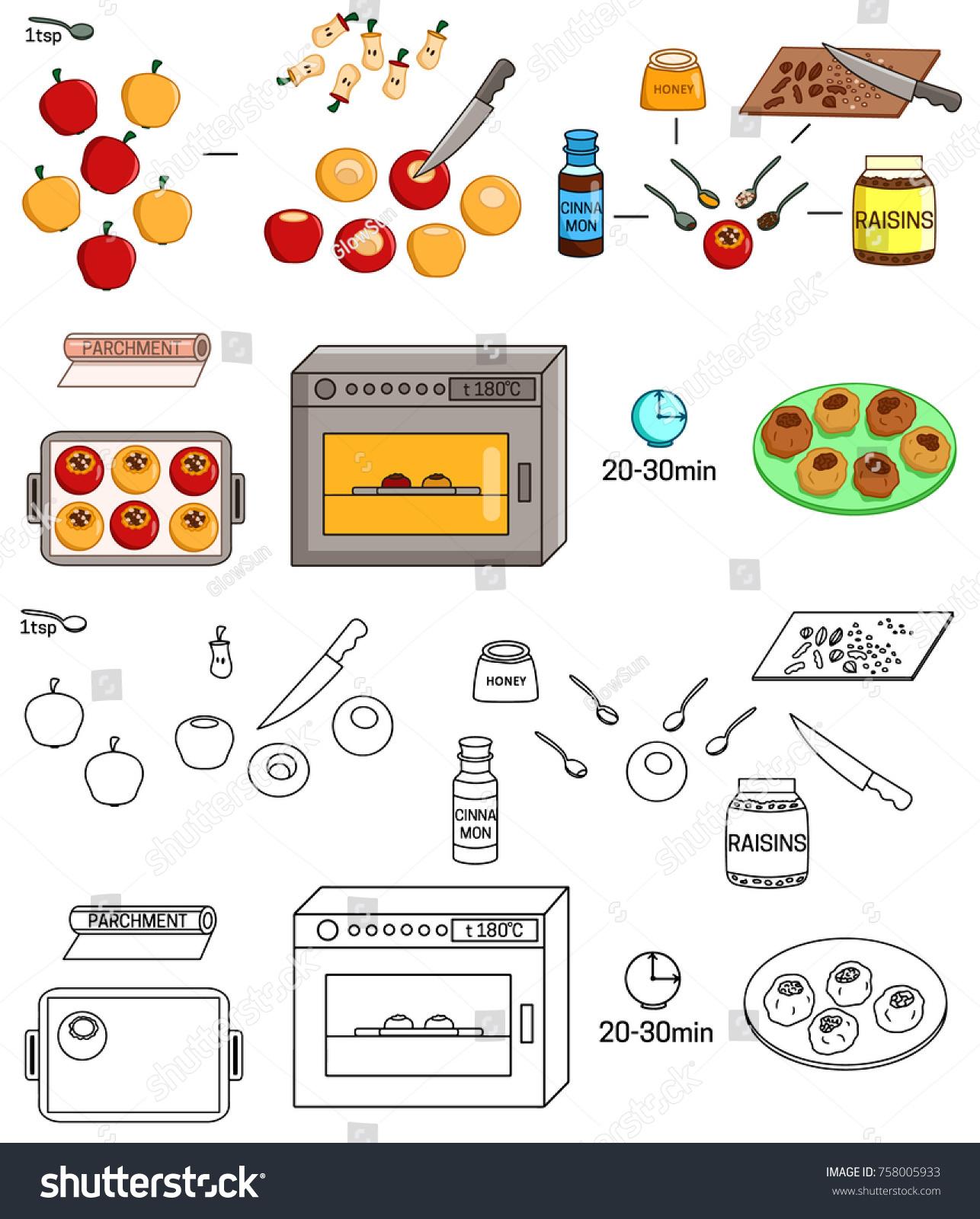 Recipe baked apples vector diy instruction stock vector (royalty.