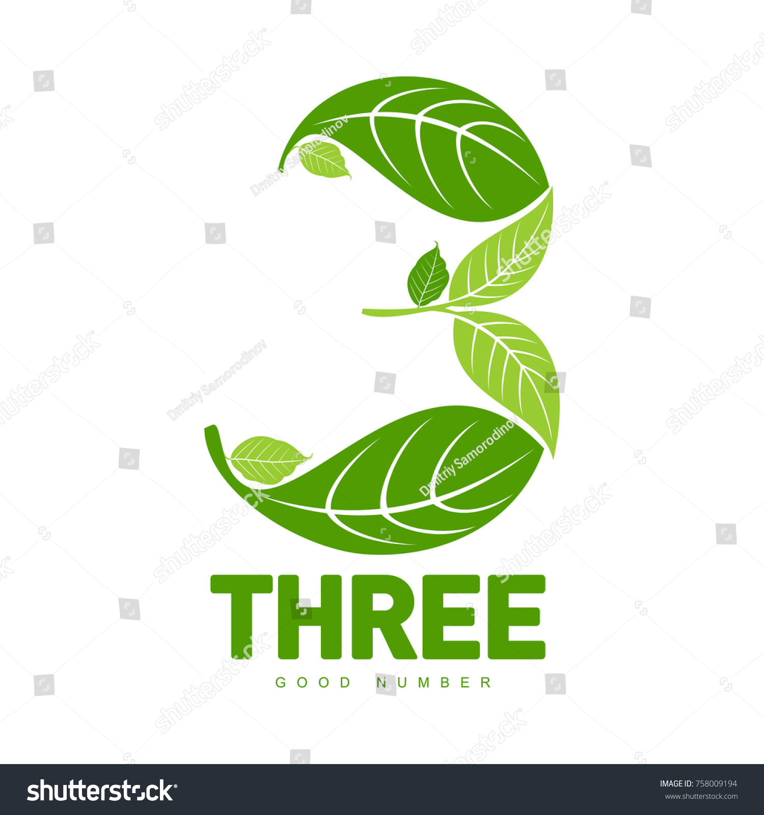 Number Three Logo Templates Full Color Stock Vector (2018) 758009194 ...
