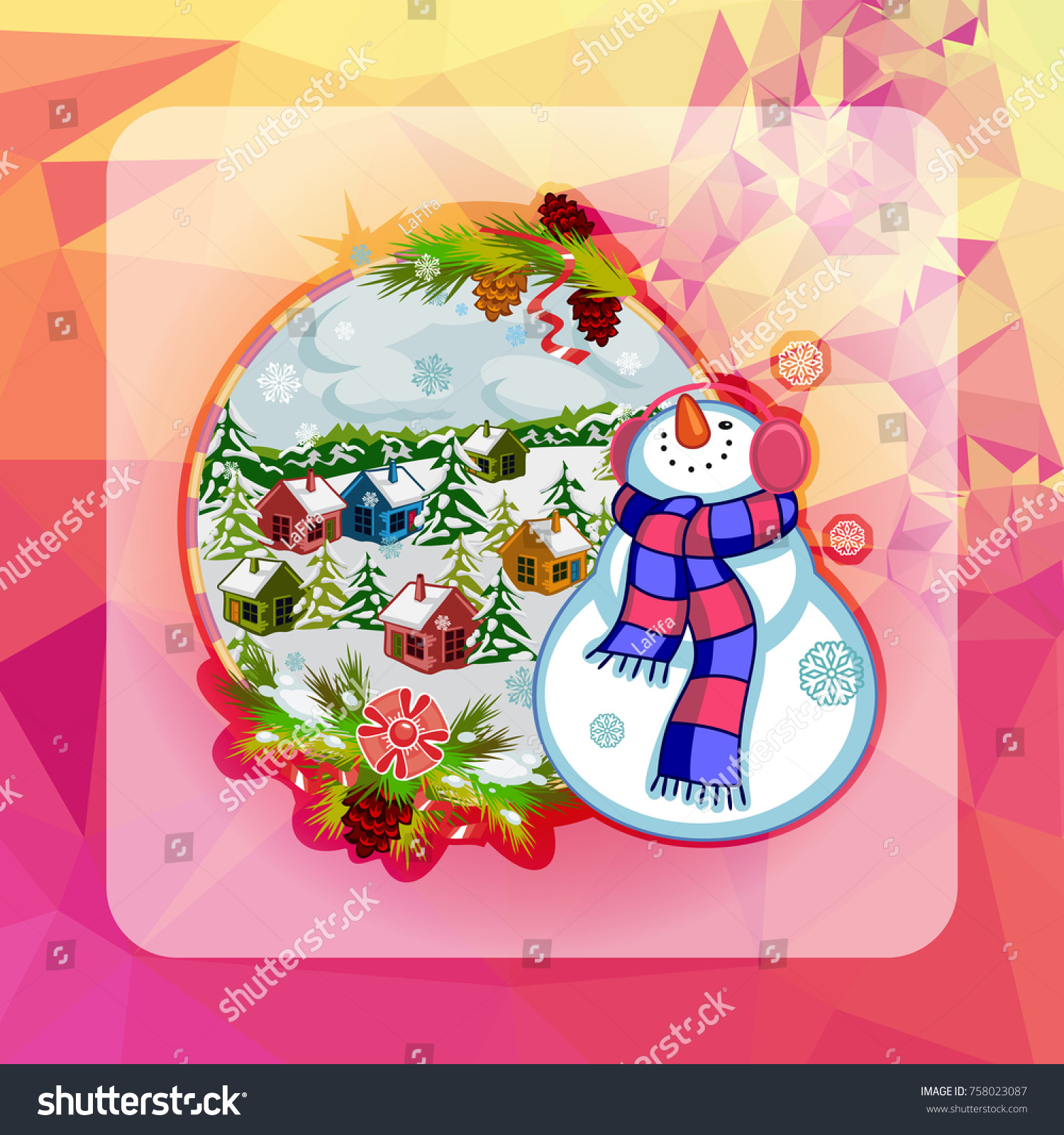 Holiday Square Christmas Card Funny Snowman Stock Illustration