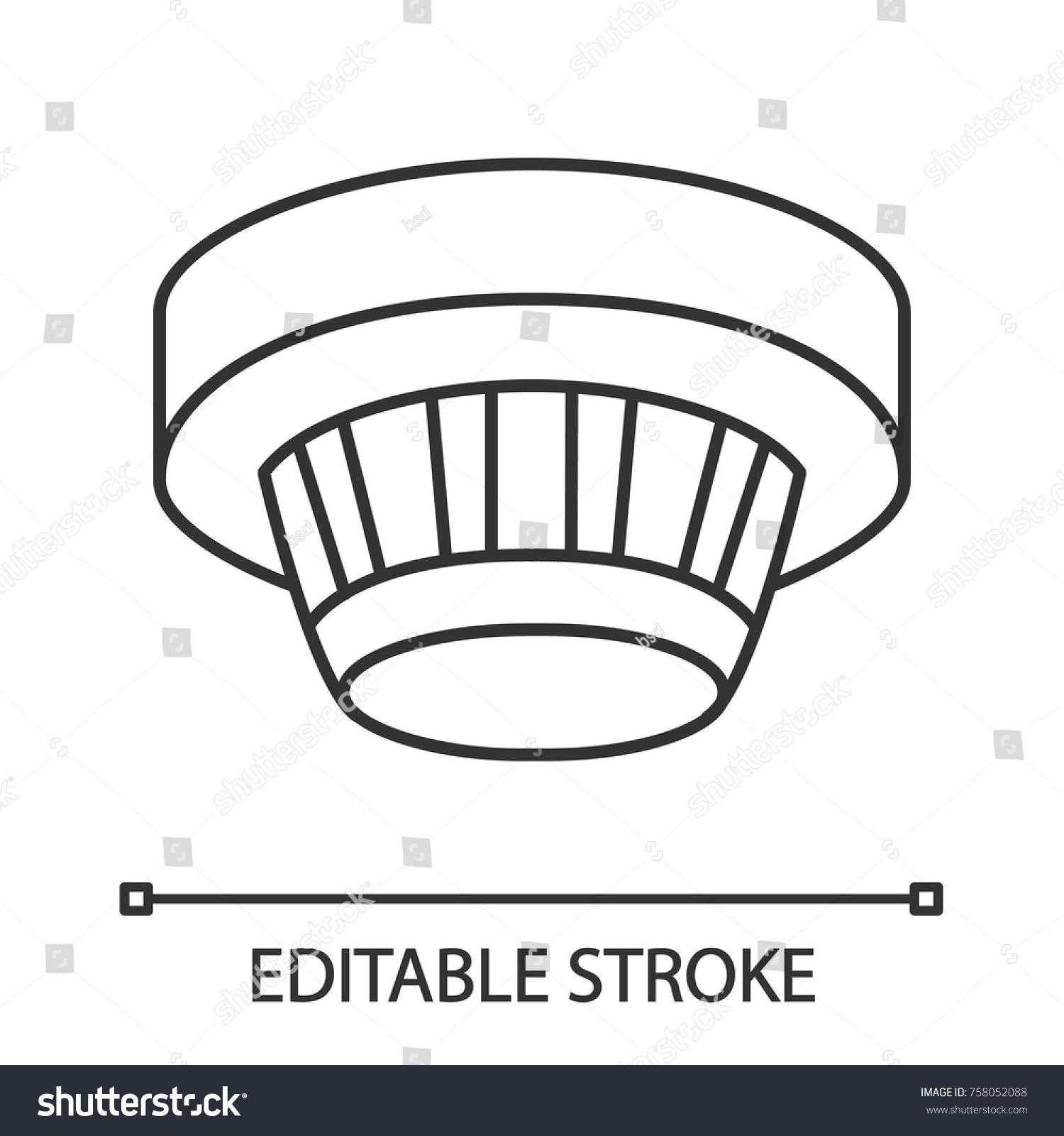 Smoke Detector Linear Icon Fire Alarm Stock Vector Royalty Free 758052088