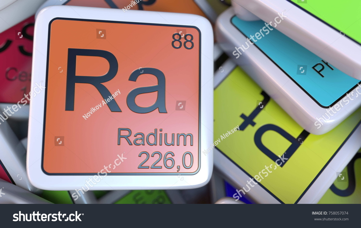 Radium ra block on pile periodic stock illustration 758057074 radium ra block on the pile of periodic table of the chemical elements blocks 3d gamestrikefo Images