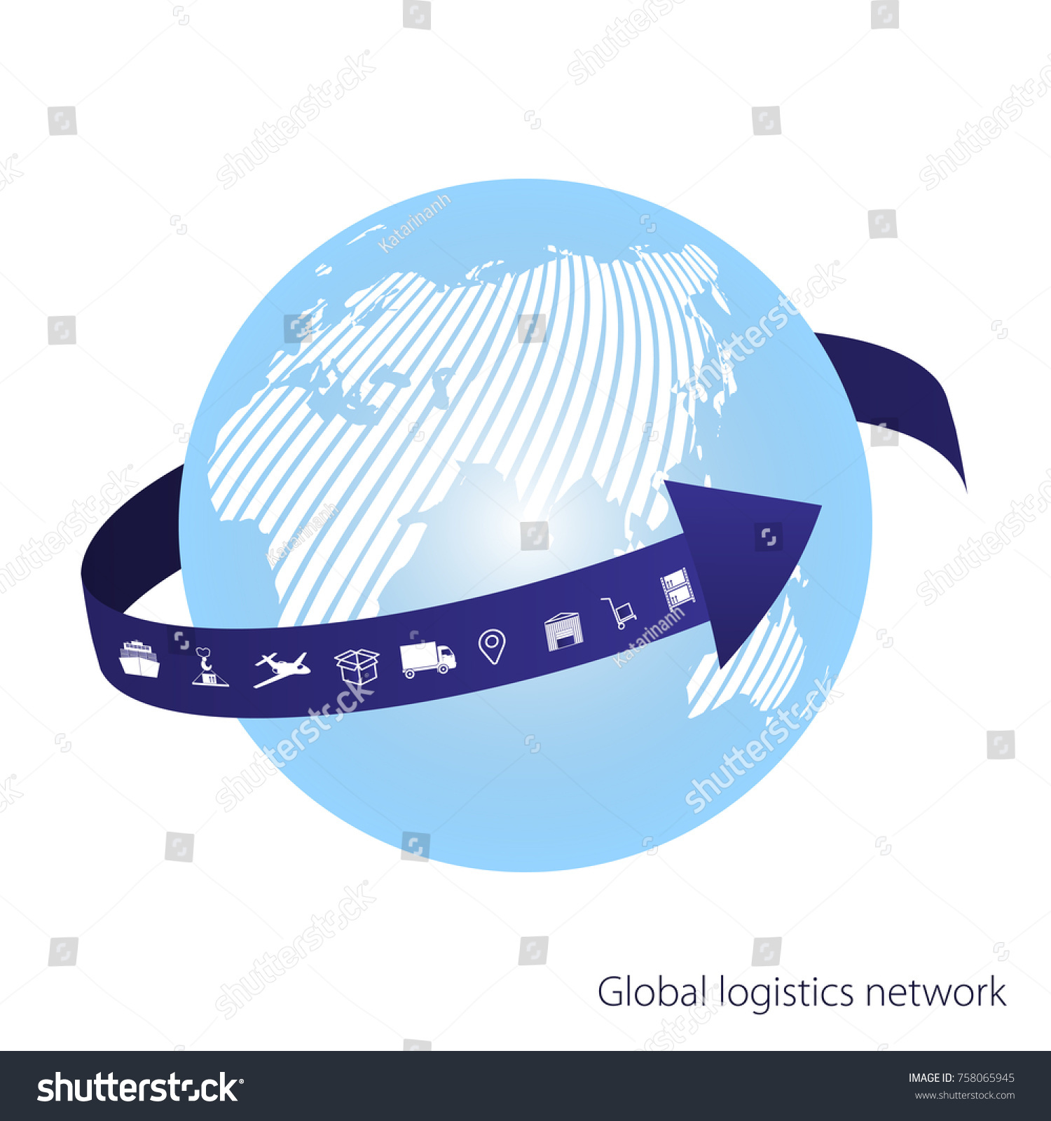 Global logistics network blue arrow goes vectores en stock 758065945 the blue arrow goes around the globe whte similar world map gumiabroncs Images