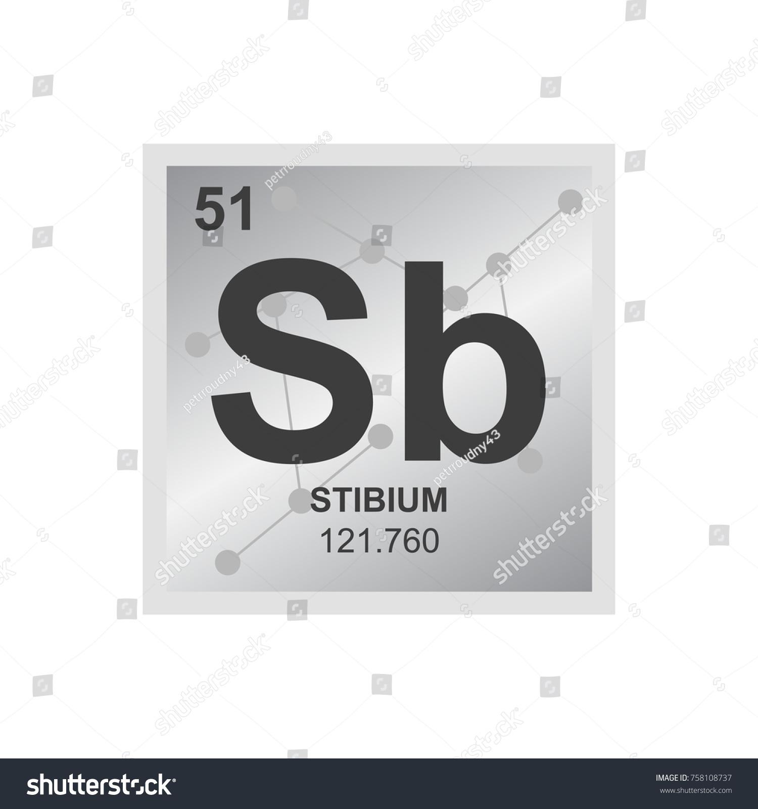 Vector Symbol Antimony Periodic Table Elements Stock Vector Royalty